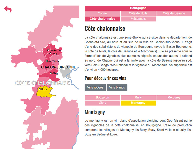 Carte des vins de Bourgogne